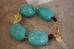 Beautiful bracelet made of turquoise, brown mookaite jasper, Akan gold weights. #aflebijoux #bijoux #jewelry #etsy