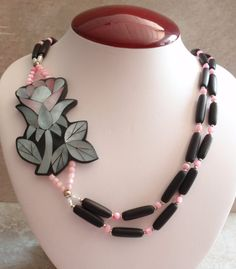 Black Rose Necklace Lee Sands Style Side Flower by cutterstone