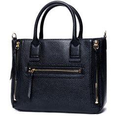SheIn(sheinside) Black Zipper PU Tote Bag featuring polyvore, fashion, bags, handbags, tote bags, accessories, black, crocodile purse, black crocodile purse, zip tote bag, crocodile handbag and zipper purse