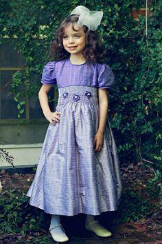 Light purple girls silk smocked dress – Carousel Wear