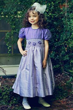 Light purple girls silk smocked dress – Carousel Wear