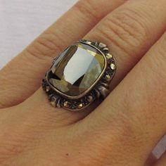 Vintage Uncas 1920's Art Deco Sterling Silver Hematite Marcasite Ring, size 5.5 #SolitairewithAccents