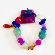 Flourite Cat's Eye and Agate Bracelet by Crejzshoppe on Etsy, $64.00