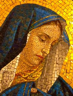 Beautiful mosaic of the Blessed Mother at Holy Cross Church, Midtown West, Manhattan, NYC