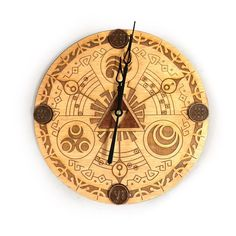 This beautiful laser engraved clock is 11.5in wide, and is hand stained and finished. The clock hands are brass and the movement is Quarts battery powered (1 AA battery not included). The clock featur