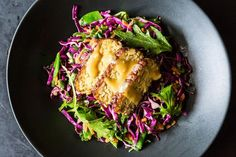 Snow Pea, Cabbage, and Mizuna Salad with Marinated and Seared Tempeh recipe from Food52