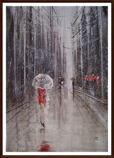 """ARTFINDER: """" BIG CITY IN RAIN """" original paintin... by Monika Luniak - OIL ON CANVAS 100x70cm olny one, original painting - palette knife - with Certificate of Authenticity  I created a series of paintings """"RAINy STREET"""".   ..."""