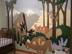 What a fun paint-by-number wall mural! It looks like there is a moose on the loose!
