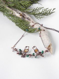 Twig with birds necklace, birds couple Valentine gift,  birds on branch necklace, twig jewelry, flowering jewelry