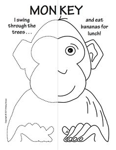 Integrating math, animal studies and visual arts with craft - language arts option.  Mary Straw Activity Coloring Pages - unique, educational printable for children. Monkey, camel, zebra, tiger, hippo.