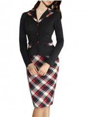 Charming Flap Pockets Plaid Fake Two-piece Bodycon-dress