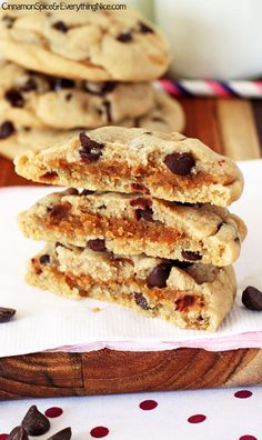 "Peanut Butter ""Stuffed"" Chocolate Chip Cookies"