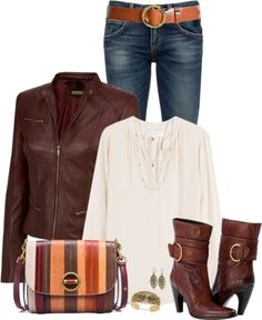 Cognac Leather Jacket Casual Fall Outfit