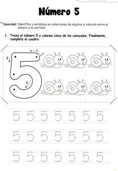 El número 5: 5 años - Material de Aprendizaje Numbers Preschool, Free Preschool, Preschool Printables, Kindergarten Worksheets, Spanish Teaching Resources, Teaching Activities, Preschool Painting, Alphabet Tracing Worksheets, Math Patterns