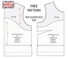 Free PDF Sewing Pattern based on the Sleeveless Top featured in The Great British Sewing Bee http://angelakane.com/free_sewing_patterns/