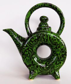 Ceramic Art Pottery Handmade Donut Teapot Green Round with