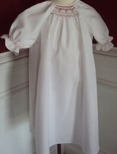 Hand Smocked Christmas Baby Girl Day Gown size 03 by thebabyduck, $32.00