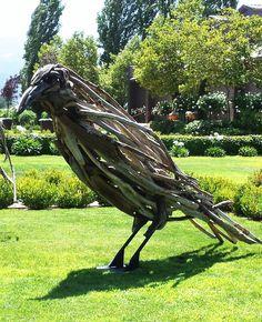 3 Extra large ravens commissioned for Kelham Vinyards in St. Helena, CA.  10' tall. Matt Torrens Sculpture Artist