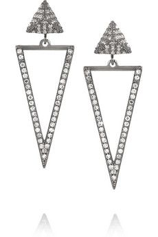 Ileana Makri Triangle 18-karat white gold diamond earrings  | NET-A-PORTER