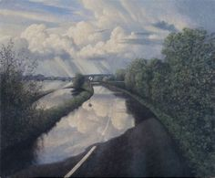 James Lynch The Road to Muchelney Signed Egg tempera on gesso coated wood panel 19 x x Landscape Art, Landscape Paintings, Landscapes, James Lynch, John Ruskin, Over The Hill, Art Uk, Love Photos, Art Drawings