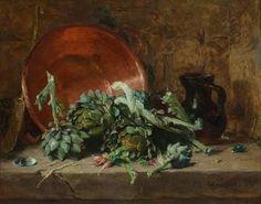 Philippe Rousseau, Natura morta con carciofi, 1868 collezione privata