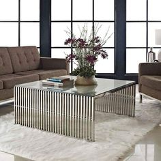 Oversized Coffee Table, Copper Coffee Table, Stainless Steel Coffee Table, Glass Top Coffee Table, Coffee Table Design, Glass Table, Coffee Table Centerpieces, Decorating Coffee Tables, Coffee Tables For Sale