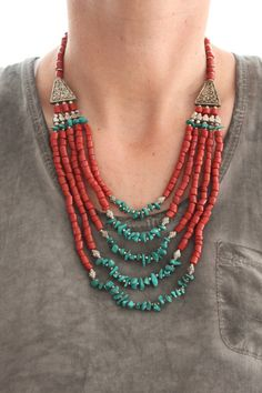 Vintage inspired Bohemian Stunning Native style bib necklace with Red corals and dyed Turquoise beads Ethnic Boho Chic Layering necklace