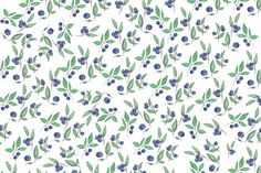 #Watercolor bilberries and branches  Bilberries and green branches pattern painted with watercolor on white background. Illustration for bloggers designers magazines social media and artists. This purchase includes one high resolution horizontal digital image. Image is a sRBG jpg and is approximately 6000x4000 pixels. License terms: http://ift.tt/1W9AIer