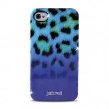 Forro iPhone 4 4S Just Cavalli - Micro Leopard Azul  Bs.F. 210,17