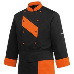 Orange Patch Chaqueta Unisex. 65% Polyester - 35% Algodón. Color Negro. Cuello, puños y pecho en naranja. 10 botones naranjas y negros. Bolsillo en pecho y manga. Cool+ en axilas y mangas. www.chefaporter.com