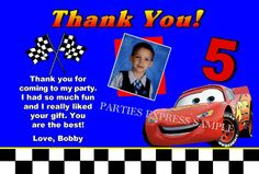 Cars Birthday party thank you note cards personalized