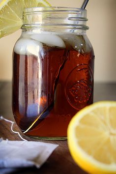 Sweet Tea ... 6 regular size tea bags or 2 large family sized tea bags {tags removed} ~ 1 pinch baking soda ~ 8 cups BOILING water ~ 1 1/2 cups sugar
