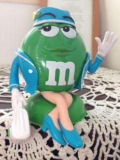 M&M's #Collectibles Ms GREEN #FlightAttendant #Candy Dispenser RARE! 2011 #MMs