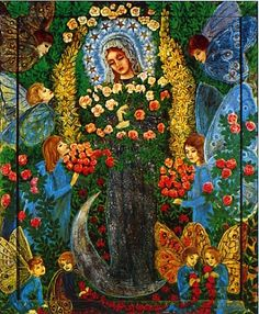 Madonna of Przydonica - Mary appears alone, in a simple veil & dress of floral beads, standing on the moon. As the moon is dependent on the sun for its light, so Mary is dependent on Christ for her grace. With downcast eyes, she humbly accepts the homage of the fairies who offer her rose bouquets & garlands.