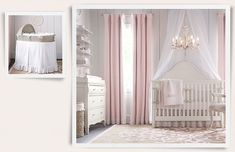 I like the chandelier for Baby Girl room, also the curtains & the wire cubby above the changing table. Rooms | Restoration Hardware Baby & Child