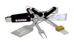 Tampa Bay Bucaneers 4 Piece Bbq Set by Siskiyou. $44.34. Includes Fork, Tongs, Brush and Spatula. BSI Products, Inc has been manufacturing Premium Licensed Flag and Banner Products for the dedicated professional and collegiate fan since 1991.. Stainless Steel construction. Tailgating never looked so good! This stainless steel BBQ set is a perfect way of showing your team pride on Game Day. Each utensil is printed with your favorite NFL team's artwork. The set includes tongs, ...