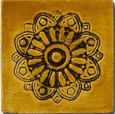 Handmade wall Decor Tile - Arabesque in Honey Glaze