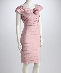 Take a look at this London Times Blush Rosette Tiered Dress by New Year's Eve: Apparel & Shoes on #zulily today!