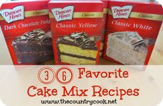 36 Desserts that You can Make Using a Boxed Cake Mix ~ like Lemon Drop Cake, Honey Bun Cake, 7up Cake, Banana Pudding Poke Cake, Almond Joy Cake, Boston Cream Poke Cake, Butterfinger Cake, Cherries in the Snow Cake, Lemon Dream Cake, Lazy Cookie Bars, Red Velvet Poke Cake, Etc.