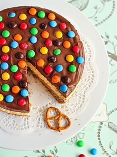 Pretzel and M&M; Chocolate Cheesecake