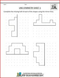 Line Symmetry 1, a math symmetry sheet for 3rd graders