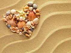 Ocean Seascapefor Summer Tropical Island Beach with Heart Sea Shells Starfish Polyester Fabric Bathroom Shower Curtain inches Cute Wallpaper For Phone, Beach Wallpaper, Pretty Backgrounds, Beach Images, I Love The Beach, Love Pictures, Beach Photography, Photo Illustration, Coastal Decor