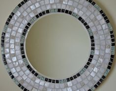 Beautiful Handmade Mosaic Mirror Bevelled Edge Glass White ceramic with gold and glitter tiles Mosaic Tile Mirror Mosaic, Mosaic Diy, Mosaic Glass, Mosaic Tiles, Glitter Tiles, Handmade Mirrors, Decorative Mirrors, Large Round Mirror, Mosaic Stepping Stones
