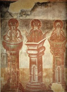 File:Spas na Ilyine - Three stylites Byzantine Icons, Byzantine Art, Tempera, Fresco, Orthodox Catholic, Biblical Art, Orthodox Icons, Mural Painting, Russian Art