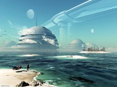 """City in the water.    (Found on a Polish blog: Marsz - science fiction. The name in the corner is """"Artur Rosa"""".)"""