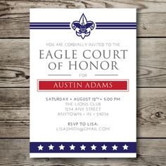 Eagle Scout Court Of Honor Invitations Vintage Scout Design