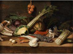 Jan van Kessel DJ, 1654-1708 KITCHEN STILL LIFE WITH DOG AND CAT