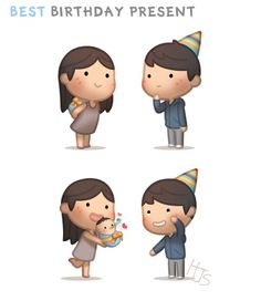 Hj-Story :: best birthday present Wedding Couple Cartoon, Love Cartoon Couple, Chibi Couple, Cute Love Cartoons, Cute Cartoon, Hj History, Ah O Amor, Cartoon Heart, Cute Love Stories