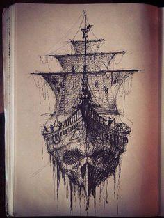 Nautical Theme Tattoo: black with shading. Skull ship tattoo.