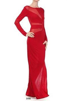 Plus Size Dress Fashion Mesh Long Sleeve High Slit Maxi Full Women Red 1XL | eBay